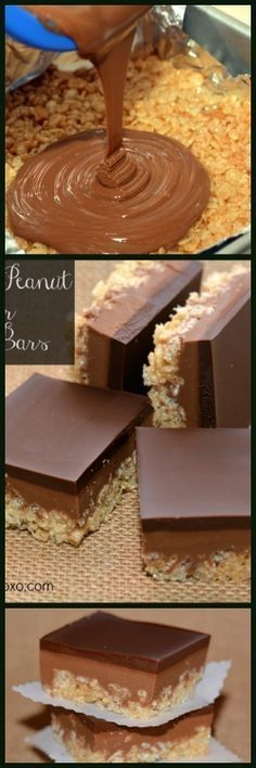Caramel and Peanut Butter Rice Krispie Bars Best Cookie Recipes, Candy Recipes, Cheesecake Desserts, Just Desserts, Rice Krispie Treats, Rice Krispies, Yummy Treats, Sweet Treats, Peanut Butter