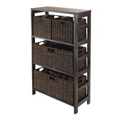 Winsome Wood 92533 Granville 5pc Storage Shelf with 2 Large and 2 Small Foldable Baskets, Espresso