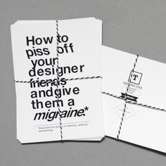 """Funny set of five typographic postcards """"How to piss off your designer friends and give them a migraine"""" by The True Type designed in Germany £5.60. More info at http://www.purenchic.com/product/set-of-five-typographic-postcards-how-to-piss-off-your-designer-friends-and-give-them-a-migraine"""