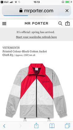 Mr Porter, Cotton Jacket, Color Blocking, Nike Jacket, Athletic, Prints, Jackets, Down Jackets, Nike Vest