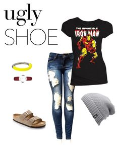 """Ugly Shoe"" by fangirl2020 ❤ liked on Polyvore featuring Birkenstock, Burberry, French Connection and The North Face"