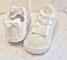 4670004b2b7c Kids Sparkly White Ivory Glitter Converse All Star Pearls Flower GiRL  wedding bridal Shoes