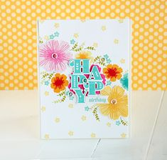 Happy Birthday Card by Danielle Flanders for Papertrey Ink (June 2015)