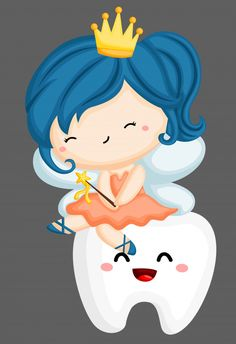 Tooth fairy sitting on tooth Premium Vec. Cartoon Pics, Cute Cartoon, Dentist Cartoon, Dental Posters, Dreamy Photography, Dental Art, Dental Humor, Free Art Prints, First Tooth