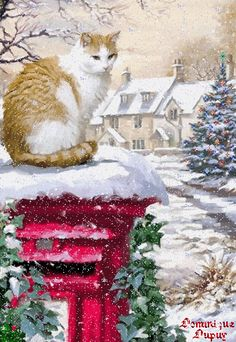 Christmas eve in painting by Richard Macneil - Art Kaleidoscope Christmas Scenes, Christmas Animals, Christmas Cats, Primitive Christmas, Retro Christmas, Country Christmas, Christmas Decor, Christmas Ideas, Vintage Christmas Images