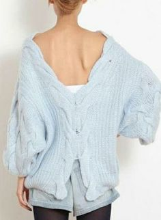 Blue Backless Oversized Cable Knit Sweater,  Sweater, blue oversize backless cable jumper, Chic