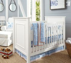 Discover Pottery Barn Kids' baby furniture sale for amazing prices. Shop baby cribs, changing tables, nursery chairs and more on sale. Baby Boy Nursery Decor, Nursery Bedding Sets, Baby Boy Rooms, Baby Boy Nurseries, Nursery Ideas, Baby Room, Nursery Inspiration, Nursery Décor, Baby Cribs