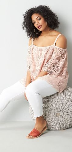 Plus Size Lace Cold Shoulder Top