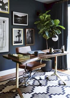 55+ Comfy and Masculine Home Office Decor Ideas #homeoffice #homeofficedecor #homeofficedecoratingideasonabudget