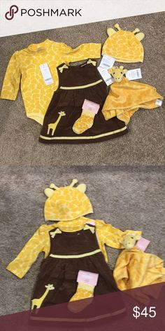 Matching giraffe dress, shirt, hat, socks & lovey Adorable matching giraffe outfit. Set includes along sleeve yellow onesie (with snap buttons on the top and bottom), warm cotton brown dress, hat with ears, 2 pairs of socks and soft cuddly lovey blanket.  Perfect for any animal lover! Gymboree Matching Sets