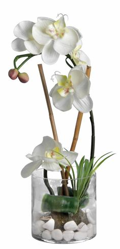 composition de fleurs artificielles orchid es h 45 cm 2 vases vases vase et composition. Black Bedroom Furniture Sets. Home Design Ideas