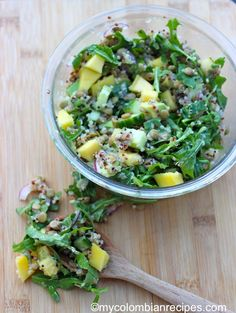 Lentil, Arugula, Mango and Quinoa Salad |mycolombianrecipes.com