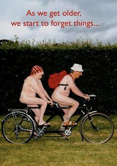 As we get older . Remember to always, always wear a bicycle helmet. Hope you had a laugh. Aging Humor, Growing Old Together, Old Folks, Young At Heart, Man Humor, Bike Humor, Just For Laughs, Getting Old, Make You Smile
