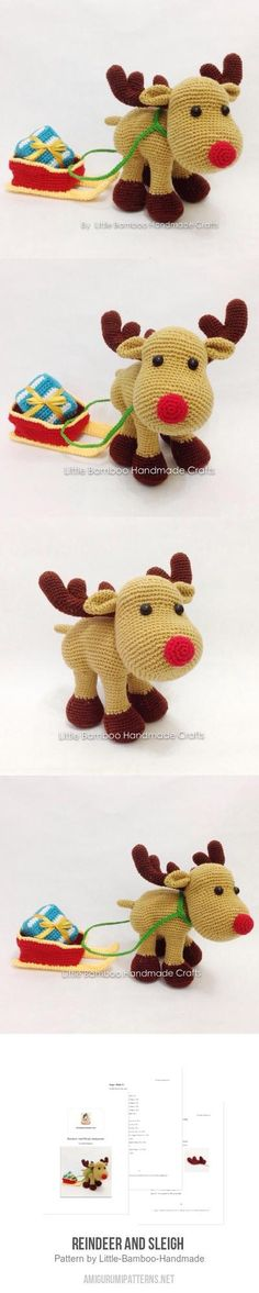 Reindeer And Sleigh Amigurumi Pattern
