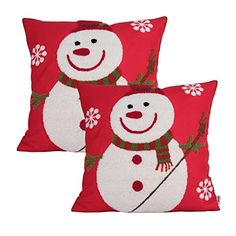 Queenie  2 Pcs Christmas Series Embroidered Cotton Linen Decorative Pillowcase Cushion Cover for Sofa Throw Pillow Case 2 Snowman Red * Visit the image link more details.
