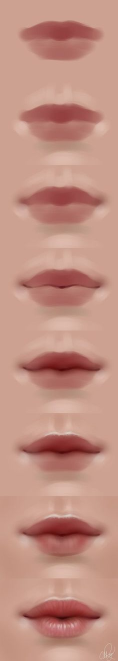 Delineate Your Lips - lips walkthrough by adelenta. - How to draw lips correctly? The first thing to keep in mind is the shape of your lips: if they are thin or thick and if you have the M (or heart) pronounced or barely suggested. Digital Painting Tutorials, Digital Art Tutorial, Painting Tips, Art Tutorials, Drawing Tutorials, Body Painting, Painting Art, Mouth Painting, Digital Paintings