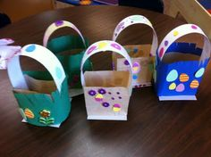 Made an easter bunny basket out of a brown paper bag easter paper bag easter baskets negle Images