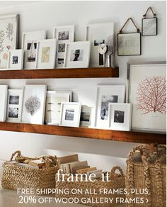 Nice arrangement of photos and framed art. Would be great for wall above TV