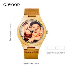 Custom Brand Your Own Photo Watch Unique Bamboo Wood Leather Causal Quartz Men Watches Customized Logo Birthday Gift For Lovers Picture Watch, Picture Engraving, Couple Watch, Wooden Watch, Guy Pictures, Jewelry Packaging, Gift For Lover, Gold Watch, Watches For Men