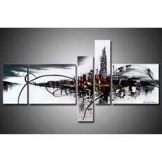 'City On The River' 5-piece Gallery-wrapped Hand Painted Canvas Art Set | Overstock.com Shopping - The Best Deals on Canvas