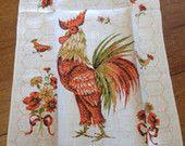 Rooster Printed Towel, Vintage Unused Crisp Linen, French Cottage Kitchen, Hen Chicks, Dish Tea