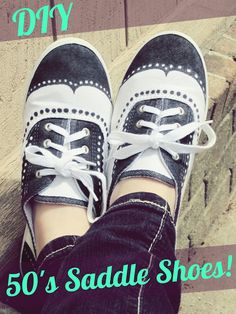 Behind The Painted Shoes by Love, Miranda Marie: DIY style Oxford Saddle Shoes! Sock Hop Costumes, Nerd Costumes, Vampire Costumes, Kids 50s Costume, 70s Costume, Hippie Costume, Halloween Costumes, Costume Ideas, Halloween 2018