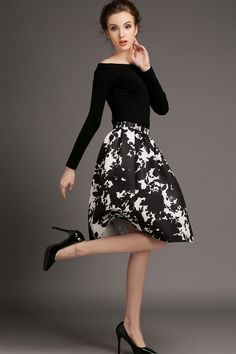 Black Cotton Long Sleeve Top With Knee Length Floral Print Dress