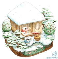 Find images and videos about winter, kawaii and snow on We Heart It - the app to get lost in what you love. Illustration Noel, Kawaii Illustration, Illustrations, Cute Animal Drawings, Kawaii Drawings, Cute Drawings, Cute Images, Cute Pictures, Bear Paintings
