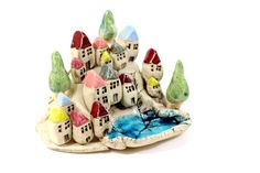 HOLIDAY SALE Colorful miniature houses Tiny by orlydesign on Etsy, $157.00
