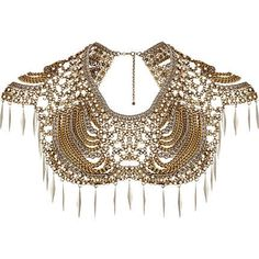 Gold tone pearl and spike collar statement necklace