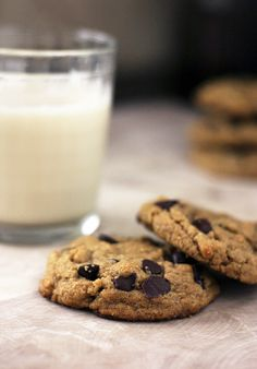 vegan peanut butter chocolate chip cookies: but if I make again, do not add rice crispies (like I did before) and bake for less time than suggested.  Cookies seemed overdone.