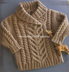 Baby Toddler Boy Girl Stunning Fisherman's Pullover/ Cable Sweater, DK/ 8ply…