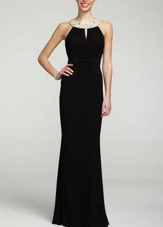 $199 Look just like the Glamorous Audrey Hepburn in this stunning Sleeveless Long Jersey Dress with Jeweled Neckline - style 262702D David's Bridal - mobile
