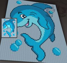 Playful Dolphin c2c graph crochet pattern by TwoMagicPixels