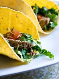 Shredded Beef #Slowcooker Tacos  #Recipe. Dbl-click pic for recipe. #Celiac #coeliac, use #glutenfree #BeefBroth instead of #RedWine if not comfortable w/ wine; & #Spice.