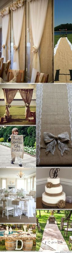 Burlap Wedding Ideas - maybe we could do the centerpiece with a large ball jar instead of the ceramic one….with a big bunch of baby's breath coming out of the top for some and hydrangeas in others??