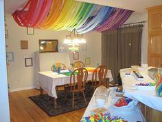 Hostess with the Mostess® - Artist (Rainbow) Party Rainbow Unicorn Party, Unicorn Birthday Parties, Birthday Fun, Birthday Ideas, Rainbow Art, Rainbow Decorations, Diy Party Decorations, Streamer Decorations, Streamers