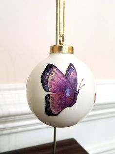 Colorful Butterfly Ornament Ball Glitter by EllensClayCreations