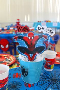 Table Centerpiece from a Spiderman Birthday Party!