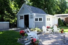 Photo of Carriage doors transform a detached garage into a three-season party room. Evergreen Carriage Doors builds custom hand crafted authentic antique carriage house doors and carriage garage doors that hinge and swing out. Carriage House Garage Doors, Garage Guest House, Carriage Doors, Garage Shed, House Doors, Detached Garage, Garage Party, Small Garage, Room Doors