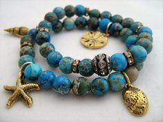 Aqua Terra Stretch Bracelets -  Ocean Theme, Seashell Charms, Beach Jewelry - Turquoise, Vintage Rhinestones, Charm Bracelet