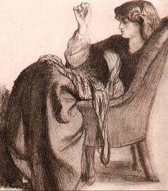 Jane Morris, 1860 - Dante Gabriel Rossetti