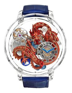 "This magnificent miniature masterpiece, ""Astronomia Flawless Imperial Dragon"" is a fine example for devoted craftsmanship as it is solely hand-engravia Watches For Men Unique, Cool Watches, Men's Watches, G Shock, Imperial Dragon, Swatch, Bracelets Design, Tourbillon Watch, Skeleton Watches"