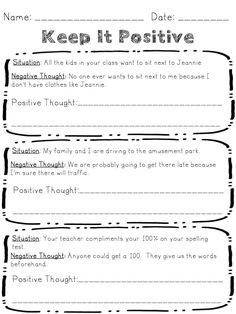 Changing Negative Thoughts Help kids reframe their negative thoughts, think through what situations cause them, how they feel and how they react. Use worksheets with provided situations to help students reframe negative thoughts. Counseling Worksheets, Therapy Worksheets, Counseling Activities, Therapy Activities, Health Activities, Coping Skills, Social Skills, Elementary Counseling, School Counselor
