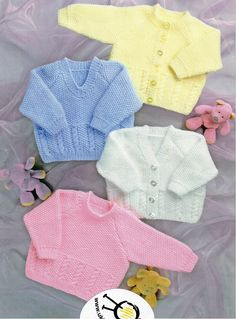 Knit Baby Cardigan and Sweater Vintage Pattern Lace v-neck knitting pullover top retro clothes girl Knitting Pullover, Baby Cardigan Knitting Pattern Free, Double Knitting Patterns, Knitted Baby Cardigan, Knitting Ideas, Cable Cardigan, Cable Knit, Pull Aran, Baby Patterns