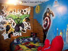 Hulk Captain America wall mural custom handpainted bedroom boys