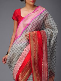 Buy Ivory Black Red Pink Banarasi Kora Saree by Ekaya Zari Online at Jaypore.com