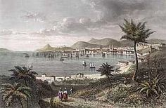 """At the small bay of Botafago, with the Sugar Loaf to one side, between thick groves of large-leafed banana trees and stately palms, stood the sparkling white mansions of viscounts, barons, generals. Tropical plants flourished, dense and deeply green, gaudy blossoms of scarlet lilac and blue mixed with the rose and other English imports.  --from """"Brazil,"""" by Errol Lincoln Uys"""