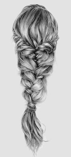 Pencil Drawings Of Girls, Cute Drawings, Drawing Sketches, Sketching, Cute Quick Hairstyles, Fancy Hairstyles, Drawn Hairstyles, Drawing Hair Braid, Hair Sketch