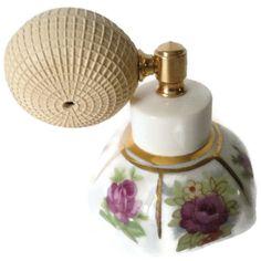 Irice Vintage Porcelain Rose Atomizer Perfume Bottle by EraAntiquesandFinds on Etsy